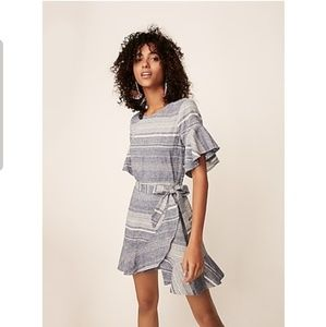 EXPRESS Striped Linen Blend Flutter Sleeve Dress